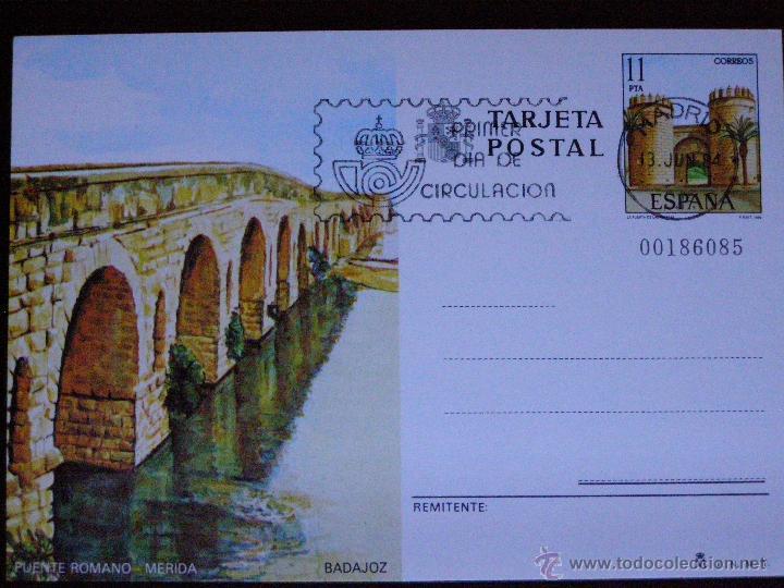 ESPAÑA -1984 - PUENTE ROMANO -MERIDA -BADAJOZ- EDIFIL 137 - ENTERO POSTAL PRIMER DÍA CIRCULACIÓN (Sellos - España - Entero Postales)