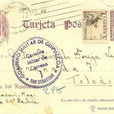 Timbres: TARJETA ENTERO POSTAL - CENSURA MILITAR - GOBIERNO MILITAR DE GUIPUZCOA - 1939 - RENTERÍA A TOLEDO. Lote 42183757