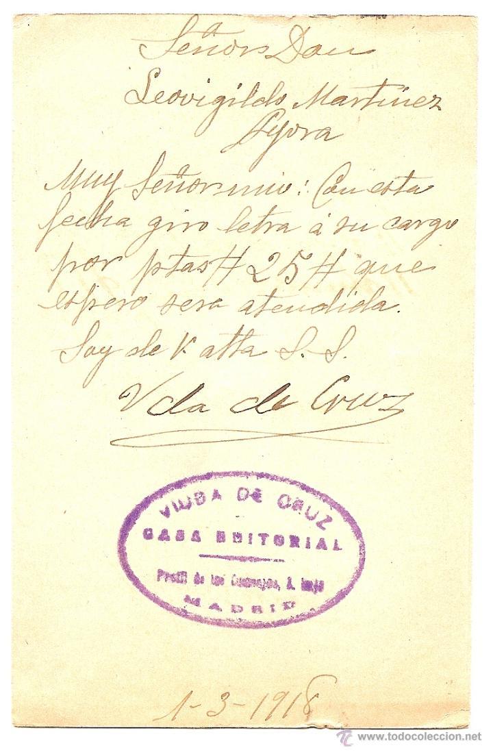 Sellos: MADRID - ENTERO POSTAL SERIE D MINÚSCULA - VIUDA DE CRUZ CASA EDITORIAL - SIN CIRCULAR AÑO 1918 - Foto 2 - 43019187