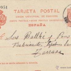 Sellos: ENTERO POSTAL AÑO 1910 Nº 53. ALFONSO XIII CIRCULADO BARCELONA /TARRASA . Lote 43673009