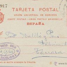Sellos: ENTERO POSTAL AÑO 1910 Nº 53. ALFONSO XIII MEMB ALFONSO ROIG MAT. BARCELONA/TARRASA . Lote 43673049