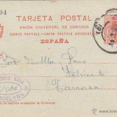 Sellos: ENTERO POSTAL AÑO 1910 Nº 53. ALFONSO XIII MEMB ALFONSO ROIG MAT. BARCELONA/TARRASA . Lote 43673087