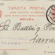 Sellos: ENTERO POSTAL AÑO 1910 Nº 53. ALFONSO XIII MATASELLOS CORUÑA / TARRASA . Lote 43673171