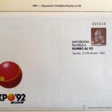Sellos: SOBRE ENTERO POSTAL EXPOSICION FILATELICA RUMBO AL 92. 1987. MAS TARJETA.. Lote 44243367