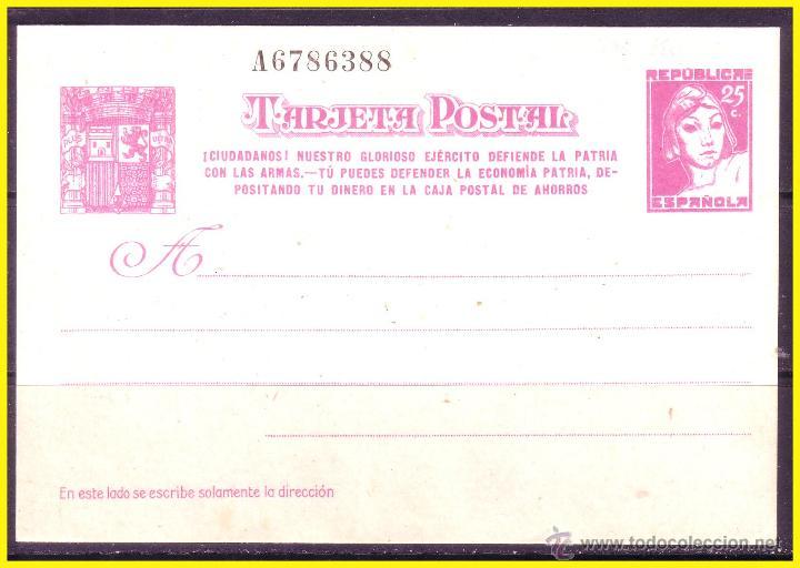 ENTERO POSTAL 1938 REPÚBLICA, LAIZ Nº 80A (*) (Sellos - España - Entero Postales)