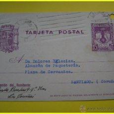Sellos: ENTERO POSTAL CIRCULADA 1938, CORUÑA-SANTIAGO. REYES CATÓLICOS 15 CTS + CENSURA MILITAR. Lote 44963764