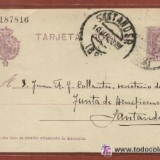 Sellos: TARJETA ENTERO POSTAL CIRCULADA EL 10 DE MAYO DE 1928. CON UN AGUJERO DE ARCHIVADOR. Lote 45493607