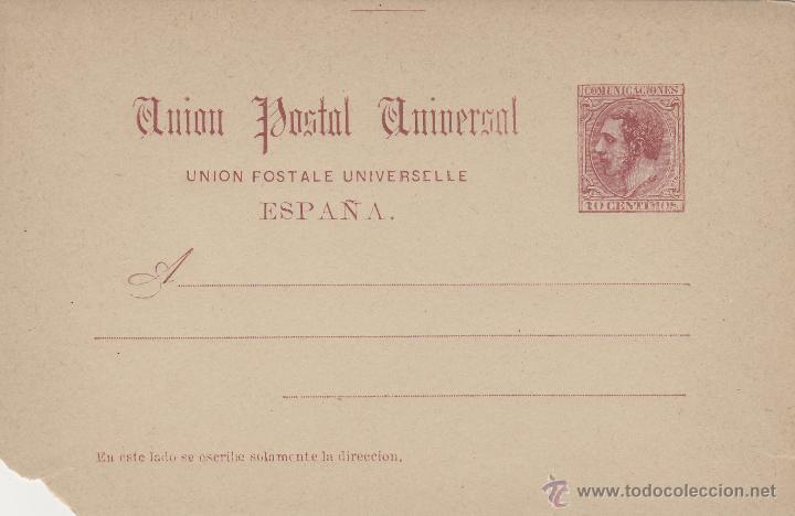 ENTERO POSTAL ALFONSO XII 1884 ED Nº 15 (*) 10 C. CARMÍN . UNIÓN POSTAL . ALGUN DEFECTO VER FOTOS (Sellos - España - Entero Postales)