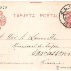 Sellos: ENTERO POSTAL OLOT GERONA A FRANCIA 1908. Lote 45746416
