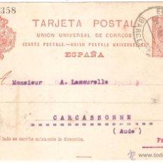 Sellos: ENTERO POSTAL BARCELONA A FRANCIA 1919. Lote 45746367