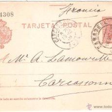Sellos: ENTERO POSTAL SABADELL A FRANCIA 1909. Lote 46079621