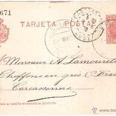 Sellos: ENTERO POSTAL LAS PLANAS A FRANCIA 1909. Lote 46079308