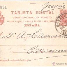 Sellos: ENTERO POSTAL SABADELL A FRANCIA 1909. Lote 45764012