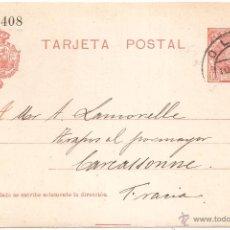 Sellos: ENTERO POSTAL OLOT GIRONA A FRANCIA 1908. Lote 46079435