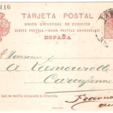 Sellos: ENTERO POSTAL BARCELONA A FRANCIA 1911. Lote 45987450