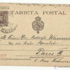 Sellos: TARJETA ALFONSO XIII EDIFIL 37 CIRCULADA 1902 DE MADRID A PARIS FRANCIA. Lote 51416058