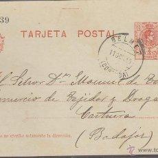 Sellos: TARJETA ENTERO POSTAL Nº 49. 10 CTMS. NARANJA. MATASELLO BELMEZ. CORDOBA OCTUBRE 1915.. Lote 19453087