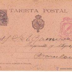 Sellos: ENTERO POSTAL ALFONSO XIII COMUNICACIONES 1900 DE VALENCIA A BARC. CAT.LAIZ NUM. 36 AEB. Lote 53487577