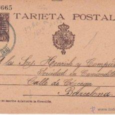 Sellos: ENTERO POSTAL ALFONSO XIII 1903 DE GRANADA A BARC.- CAT. LAIZ NUM. 37AN Y LA JOTA DE T..... ROTA. Lote 53488310
