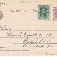 Sellos: ENTERO POSTAL ALFONSO XIII CON DESTINO A ALEMANIA CAT.LAIZ NUM. 57 -FRANQUEO COMPLEMENTARIO. Lote 53503563