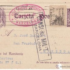 Sellos: ENTERO POSTAL REPÚBLICA CAT LAIZ NUM. 82FB DE JOSÉ MESTRES DE BARCELONA CON CENSURA MILITAR. Lote 53573713