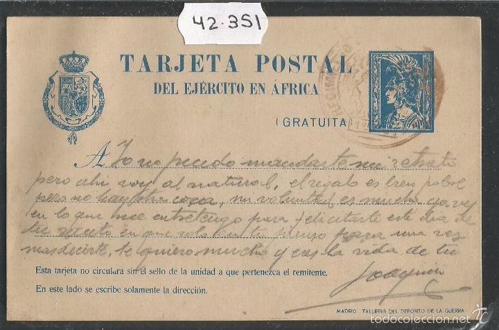 TARJETA POSTAL - ENTERO POSTAL - EJERCITO EN AFRICA - CIRCULADA - (42.351) (Sellos - España - Entero Postales)