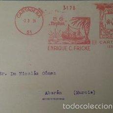 Sellos: POSTAL CON RARO FRANQUEO MECANICO COMPAÑIA DE VAPORES NEPTUN DE CARTAGENA. MURCIA 1936. Lote 57920420