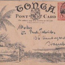 Sellos: 0468 ENTERO POSTAL TONGA NUKUALOFA A HAMBURGO CON SELLO 1D AÑO 1909. Lote 60561771