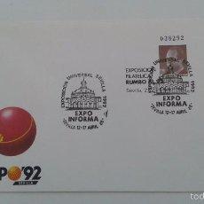Stamps - ESPAÑA AÑO 1987 - SOBRE ENTERO POSTAL PRIMER DIA DE CIRCULACION EDIFIL Nº 6 - RUMBO 92 EXPO INFORMA - 60909543