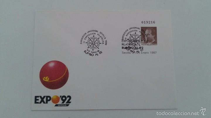ESPAÑA AÑO 1987 - SOBRE ENTERO POSTAL PRIMER DIA DE CIRCULACION EDIFIL Nº 6 - RUMBO 92 - RUMBO AL 92 (Sellos - España - Entero Postales)