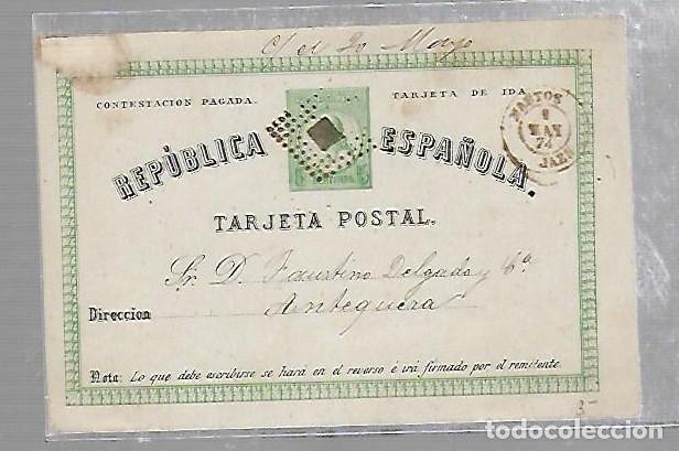ENTERO POSTAL. REPUBLICA ESPAÑOLA. CIRCULADO. 1874. VER IMAGEN (Sellos - España - Entero Postales)