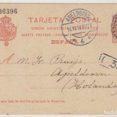 Sellos: 53. ALFONSO XIII. BARCELONA A APELDOORN (HOLANDA). 1910. Lote 66811534