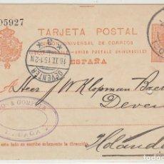 Sellos: 53. ALFONSO XIII. MÁLAGA A DEVENTER (HOLANDA). 1915.. Lote 66812902