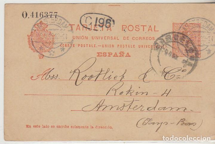 53. ALFONSO XIII. BARCELONA A AMSTERDAM (HOLANDA). 1912. (Sellos - España - Entero Postales)