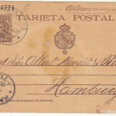 Sellos: 37. ALFONSO XIII. CARTAGENA A HAMBURGO (ALEMANIA). 1902.. Lote 67239553