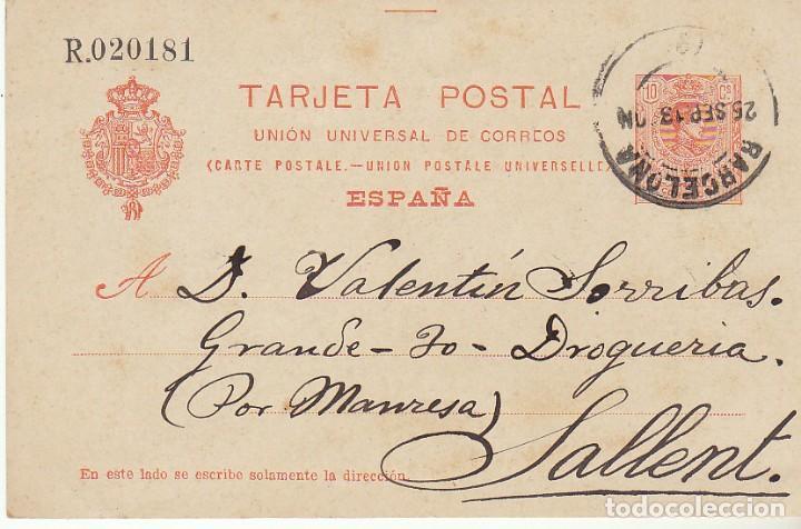 53. ALFONSO XIII. BARCELONA A SALLENT. 1913. (Sellos - España - Entero Postales)