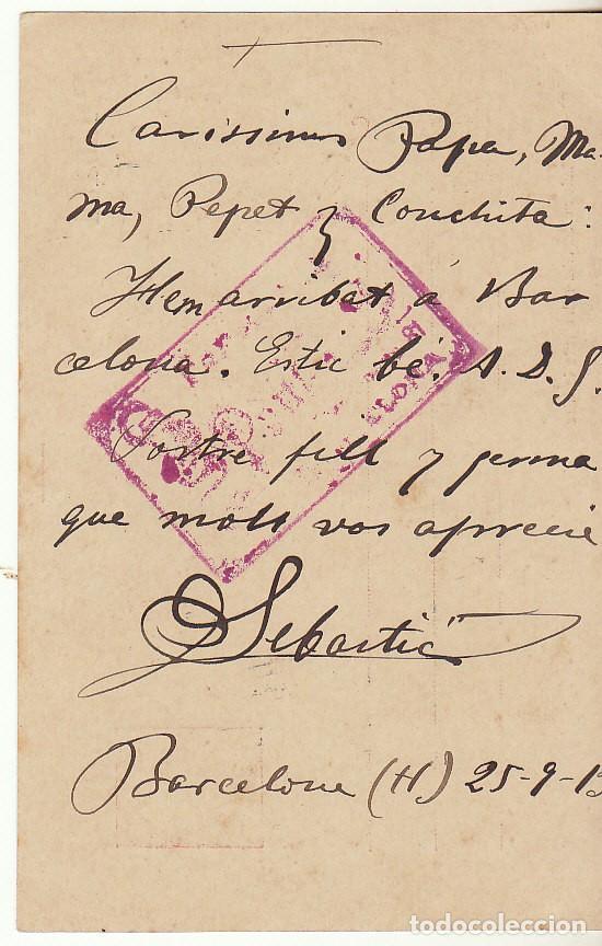 Sellos: 53. ALFONSO XIII. BARCELONA a SALLENT. 1913. - Foto 2 - 68731365