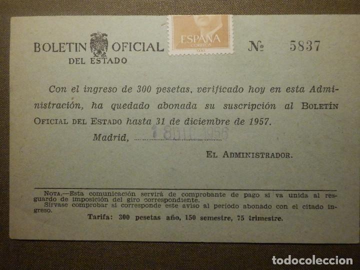 TARJETA POSTAL - BOLETIN OFICIAL DEL ESTADO - AÑO 1957 - (Sellos - España - Entero Postales)