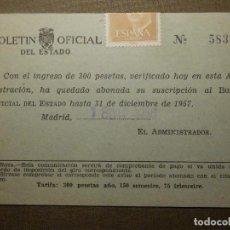 Sellos: TARJETA POSTAL - BOLETIN OFICIAL DEL ESTADO - AÑO 1957 -. Lote 68866857