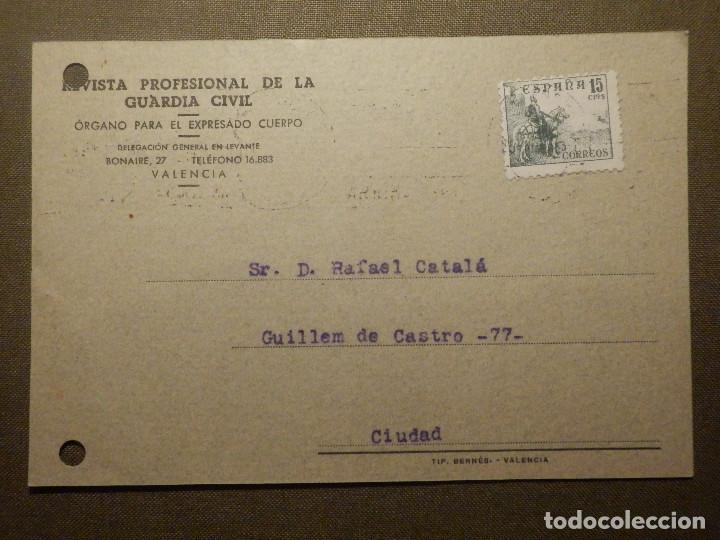 TARJETA POSTAL - REVISTA PROFESIONAL DE LA GUARDIA CIVIL - DELEGACION GENERAL DE LEVANTE (Sellos - España - Entero Postales)