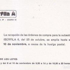 Sellos: ENTERO POSTAL IMPRESION PRIVADA IBERFILA M MADRID CIRCULADO A BURGOS. BONITO Y RARO ASI. MPM.. Lote 38944067