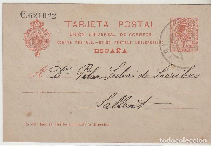 53. ALFONSO XIII. BARCELONA A SALLENT. (Sellos - España - Entero Postales)