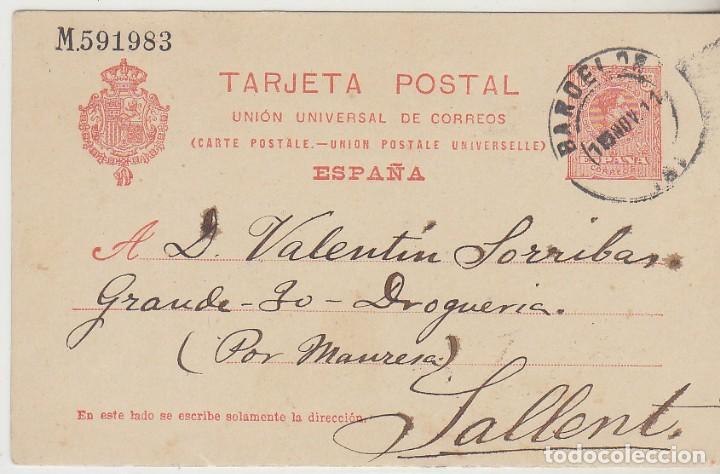 53. ALFONSO XIII. BARCELONA A SALLENT. 1911. (Sellos - España - Entero Postales)