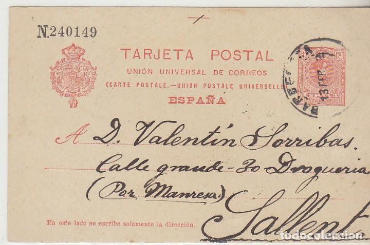 53. ALFONSO XIII. BARCELONA A SALLENT. 1912. (Sellos - España - Entero Postales)