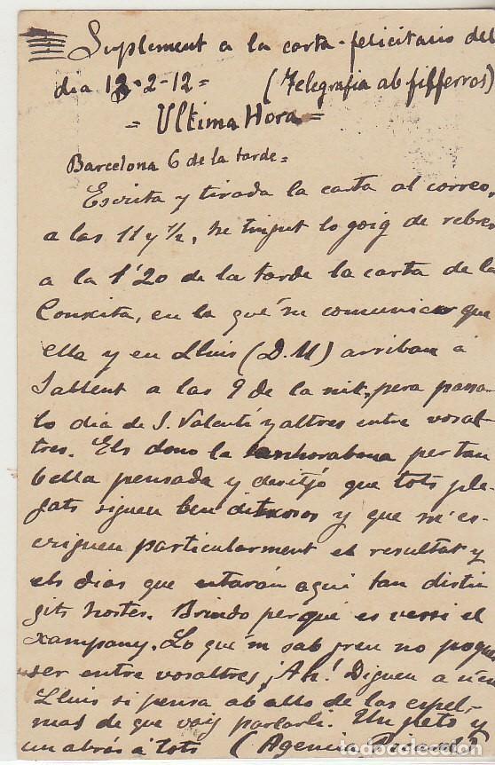 Sellos: 53. ALFONSO XIII. BARCELONA a SALLENT. 1912. - Foto 2 - 69908193