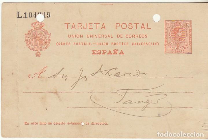 53. ALFONSO XIII. FEZ A TANGER (MARRUECOS). 1912. (Sellos - España - Entero Postales)