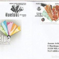 Francobolli: ESPAÑA FDC SPD HUELVA CAPITAL GASTRONOMIA COMIDA JAMON QUESO FRES PESCADO. Lote 228054880
