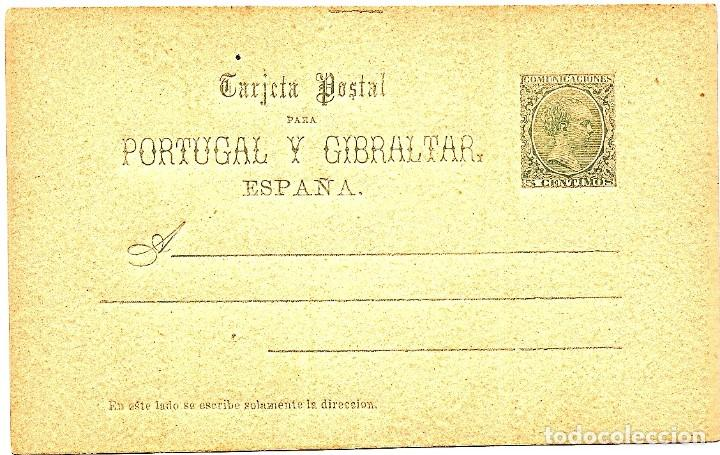ENTERO POSTAL ESPAÑA ALFONSO XIII PELÓN PORTUGAL Y GIBRALTAR1890 EDIFIL Nº 25 5 C. VERDE S. CIRCULAR (Sellos - España - Entero Postales)