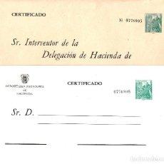 Sellos: 2 SOBRES ---MISMO NÚMERO----DEPOSITARIA PAGADURIA HACIENDA Y CERT. INTERVENTOR DELEGACIÓN HACIENDA. Lote 78449429