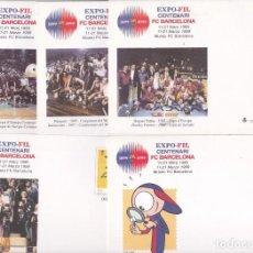 Sellos: CENTENARIO DEL FC. BARCELONA EXPOSICION FILATELICA 5 DIFERENTES ENTEROS POSTALES. Lote 80536165